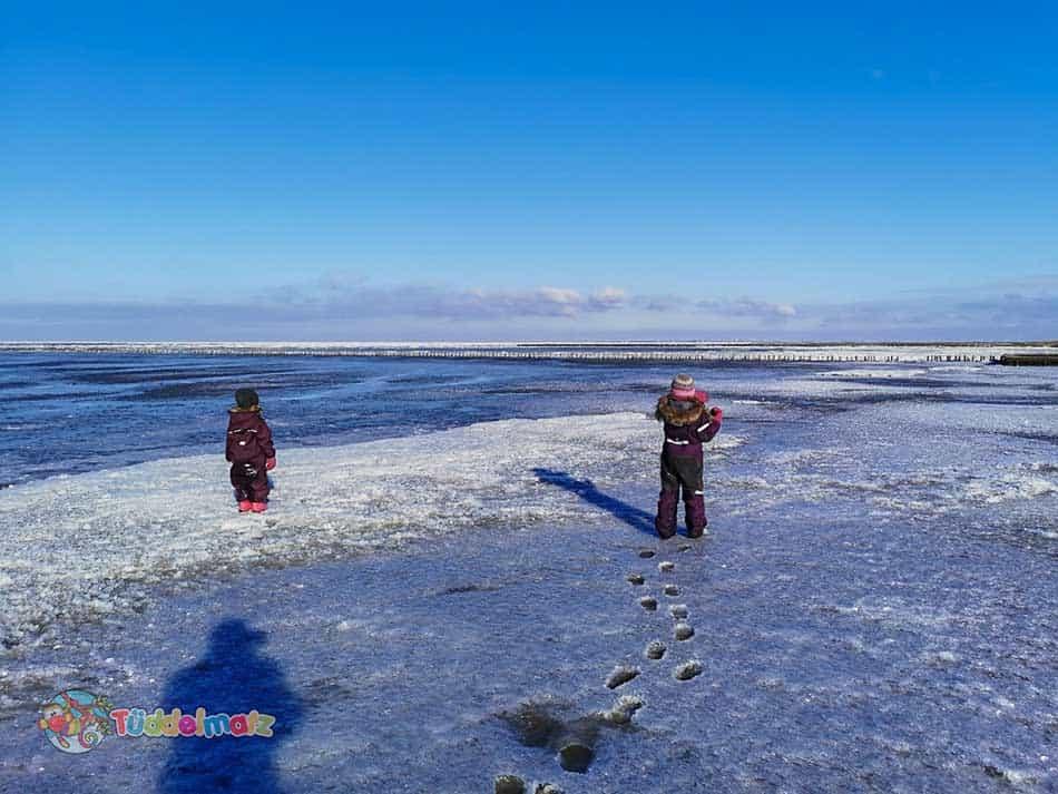 Kinder in den Schneeanzügen von Reima und Didriksons auf der gefrorenen Nordsee