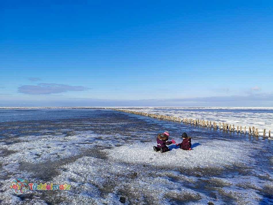 Kinder im Schneeanzug auf der Eisscholle