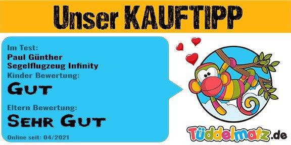 Unser Kauftipp Paul Günther Segelflugzeug Infinity - Testsiegel Tüddelmatz