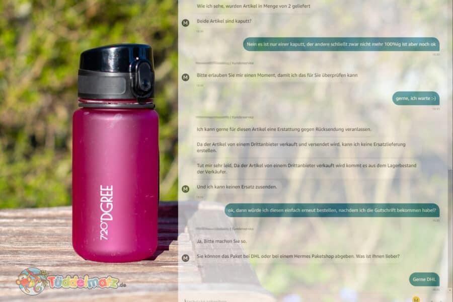 Amazon Reklamation - Trinkflasche mit Chat