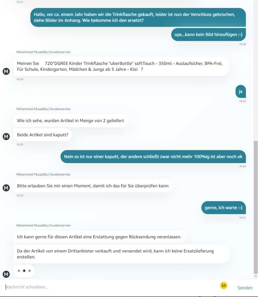 Amazon Reklamation: Der Chatverlauf 4