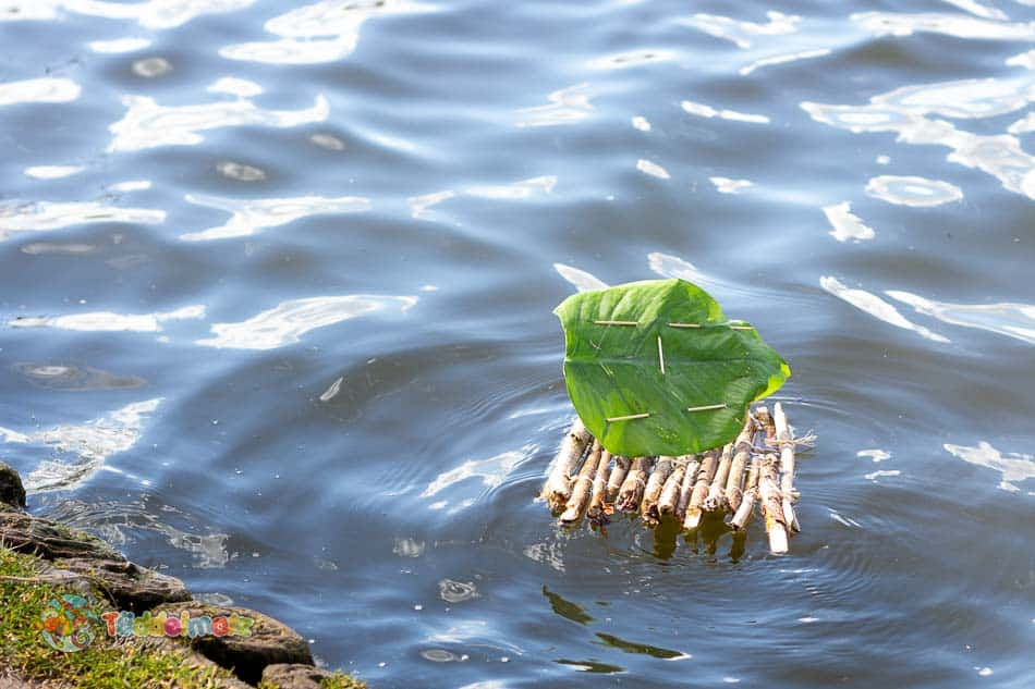 Floß bauen: Titelbild mit Floß im Wasser
