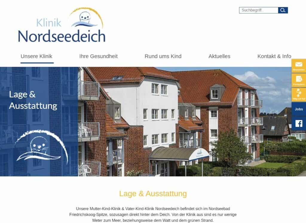 Internetseite der Klinik Nordseedeich