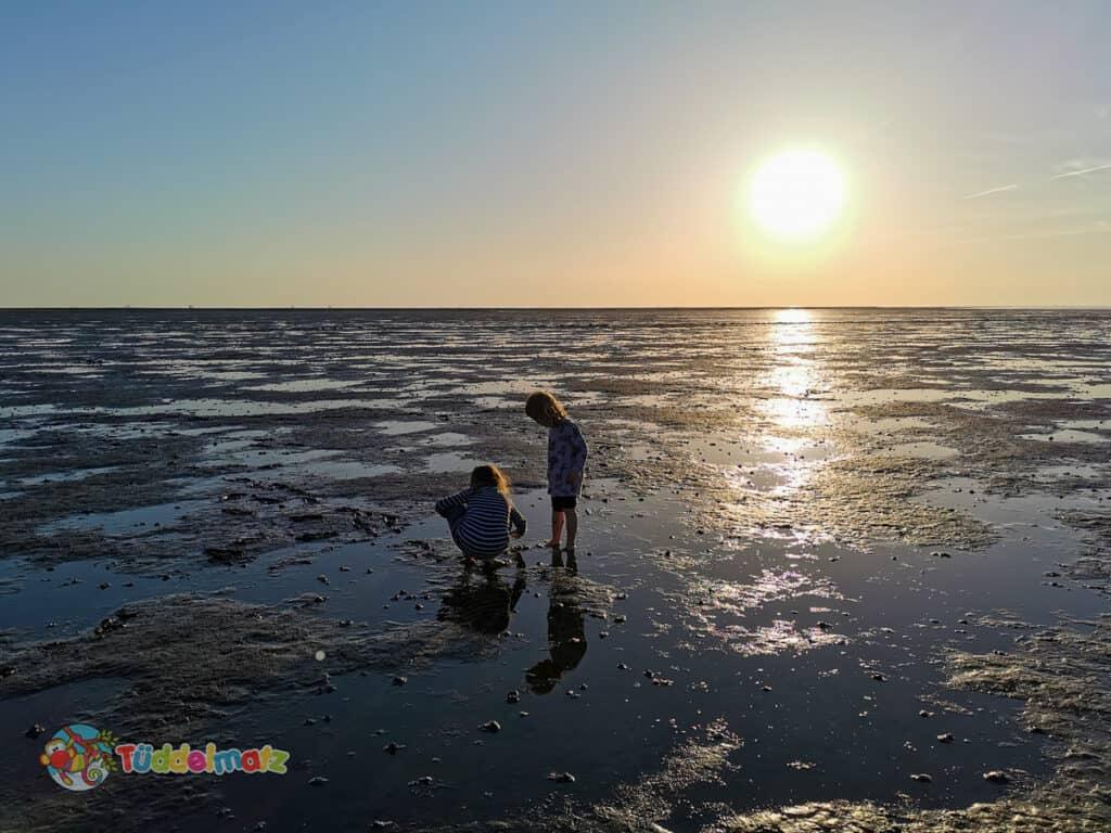 Kinder Barfuß im Wattenmeer während der Mutter-Kind-Kur an der Nordsee